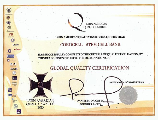 Certificado Latin American Quality Awards