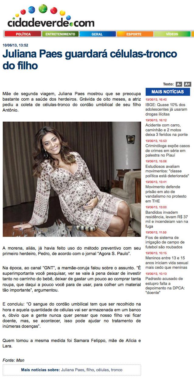 Juliana Paes guardará as células-tronco do cordão umbilical de seu filho Antônio
