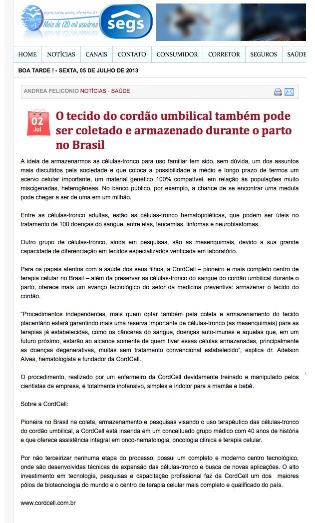 Tecido do cordão umbilical pode ser coletado e armazenado durante o parto no Brasil - Segs