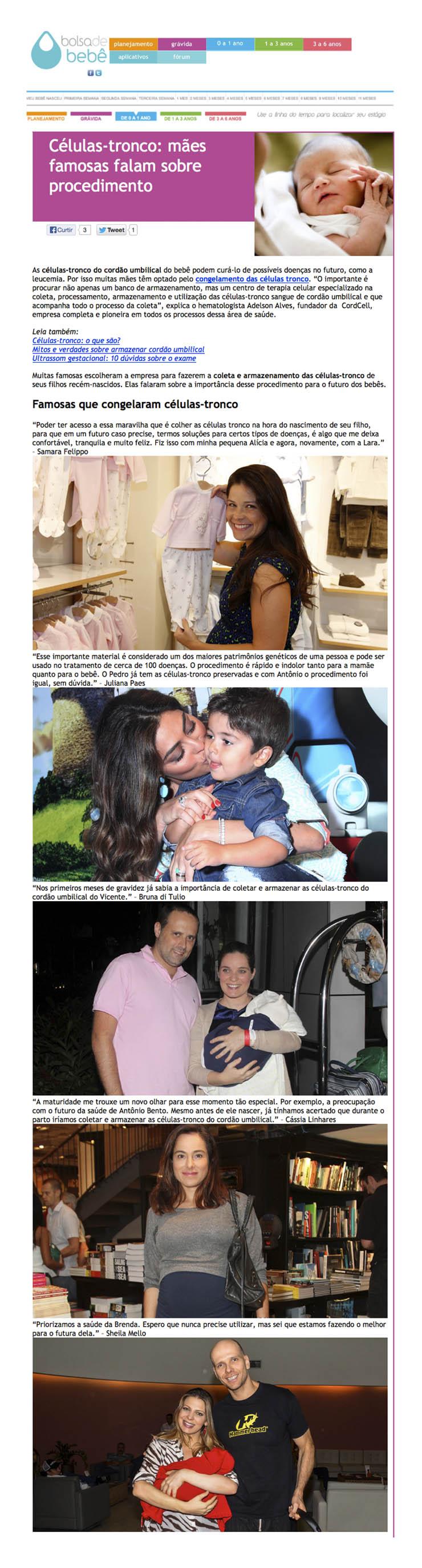 Publicação no Site Bolsa de Bebê onde mães famosas falam sobre procedimento de coleta de células-tronco e mencionam CordCell.